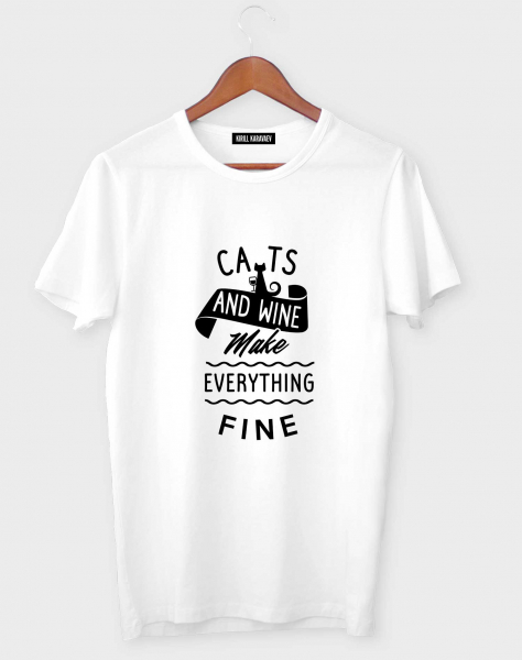 ФУТБОЛКА CATS and WINE make everything fine